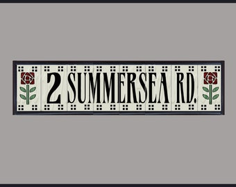 CUSTOM LISTING for MICHELLE, Framed Custom House Sign - 2 Summersea Rd - Craftsman Rose Design