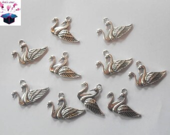 10 charms antique silver Swan 29 x 20 mm