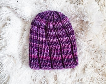 Crochet Ribbed Beanie in Purple Ombre Stripe