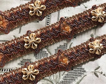 Embellished Beaded Trim w/ Soutache Scroll Design - Rust Brown Wide Gimp Decorative Trim for Home Decor Pillows Totes Sewing Braid - 1 yard