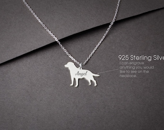 LABRADOR RETRIEVER Personalised Tiny Silver Necklace - Labrador Necklace - 925 Sterling Silver, Gold Plated or Rose Plated