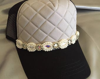 Trucker Hat, Sparkle Hat, Quilted Hat, Bling Hat,  Womens Hats, Pearl Hats, Rhinestone Hats