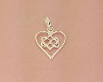 Sterling Silver 14mm Infinity Heart Charm or Pendant. 925 Sterling Infinity Silver Heart  Charm. I love you x Infinity Heart Pendant.