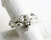 White Topaz,White Sapphire,Engagement Rings, Silver Twig Rings, Oval 6x4mm White Topaz Brnach Ring
