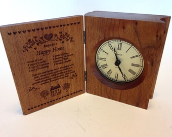 """Lasercraft Wood Book Clock: """"A house full of Love is called HOME"""""""