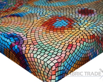 Multi Mosaic Tiles PVC Vinyl Tablecloth Dining Kitchen Table Protector Cover