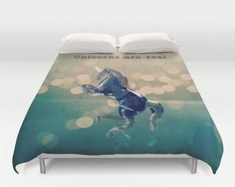 Unicorns are Real Comforter or Duvet Cover: Home decor, bedding, blanket, fantasy, sparkle, purple, blue, girl's room, tween, teen