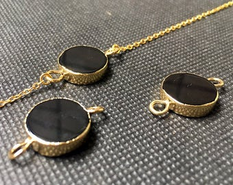 SALE New Beautiful Smooth Surface Black Agate Round Shaped Double Bail Connector Pendant with Gold Electroplated S29B5-88
