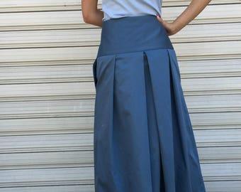 Maxi Cotton Skirt /  Blue Women Long Skirt / Loose Skirt / Party Skirt / Maxi Skirt / EXPRESS SHIPPING