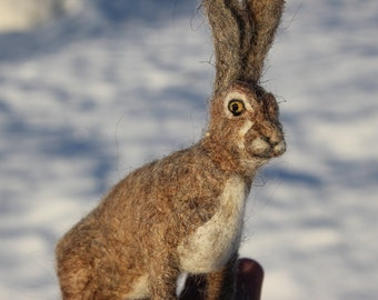 Needle felted Hare, Rabbit or Bunny.  Felted soft sculpture . Fathers day. Ready to ship.