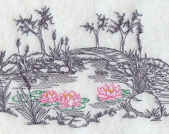 Garden Etching Water Lillies Embroidered Flour Sack Hand/Dish Towel