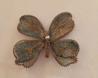 Vintage gold wire wrapped butterfly brooch