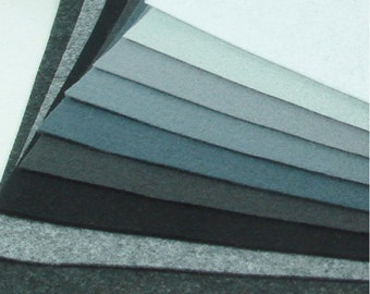 Felt Fabric - 9 White Greys Black - 20cm x 20cm per sheet