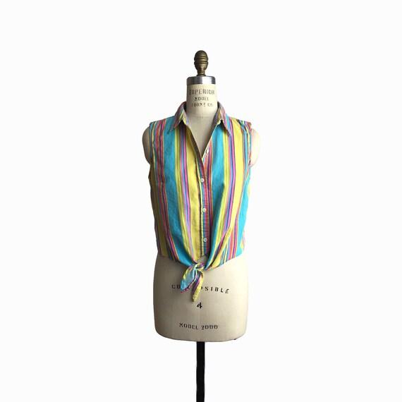Vintage 90s Striped Linen Top / Sleeveless Summer Top / Tie Waist Top - women's small