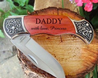 Personalized Pocket Knife, Hunting Knife, Gift for Men, Fathers Day, Custom Camping Knife, Daddy Knife, Engraved Knifes, Engraved Wood