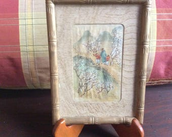 Vintage Picture Painted on Silk with Wood Frame