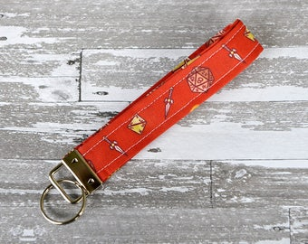 Tabletop RPG Wristlet Key Fob - Red Dice Keychain / Dungeons and Dragons Fabric / D20 Wristlet / Geek Cotton Key Fob / Geek Girl Gift