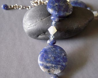 Blue Gemstone Necklace, Round Gemstones, Swarovski Crystals, Sterling Silver Chain, Choker Necklace