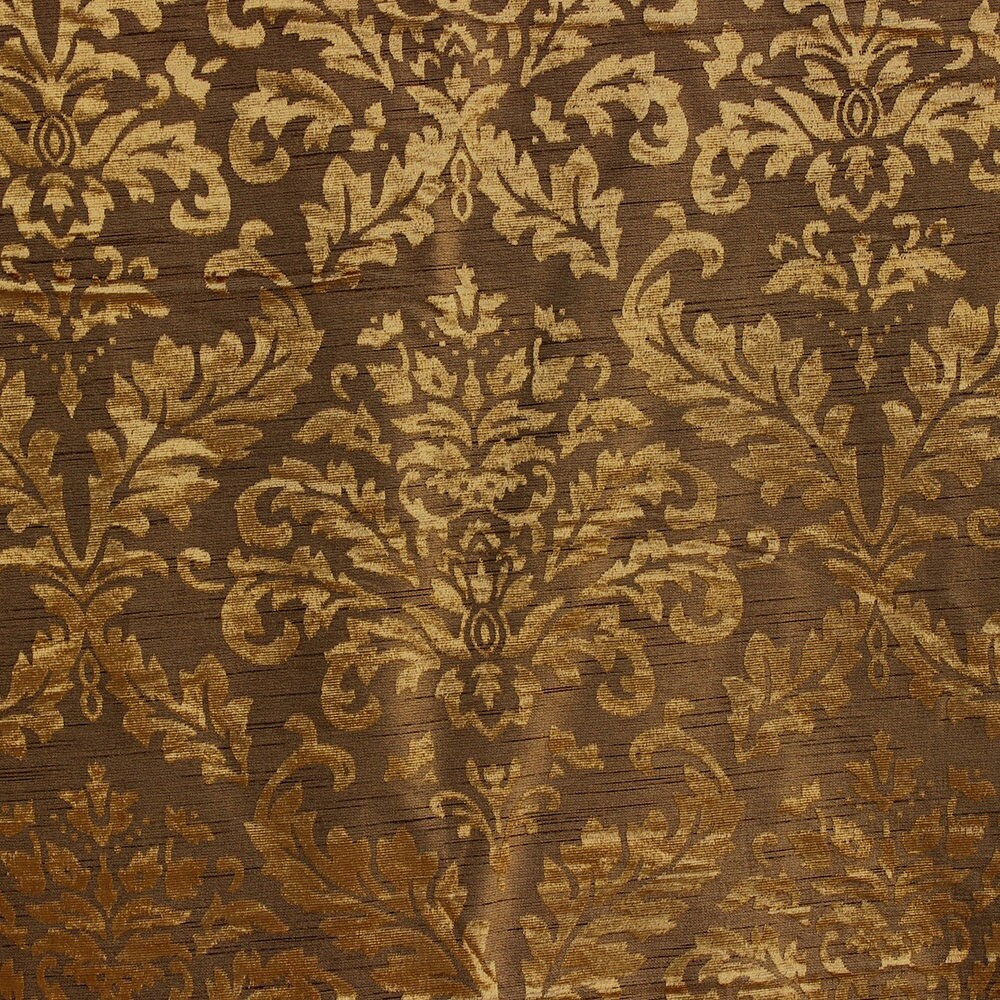 Gold And Olive Damask Fabric Upholstery Fabric Curtain Panels