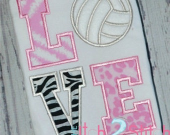 Volleyball Love Applique Design For Machine Embroidery INSTANT DOWNLOAD now available
