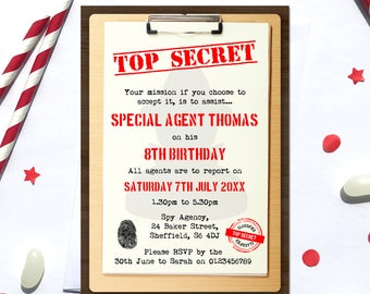 Spy Birthday Invitation, Digital File, PDF, DIY, secret agent invitation, spy invite, Boys Birthday Invitation, agent birthday printable
