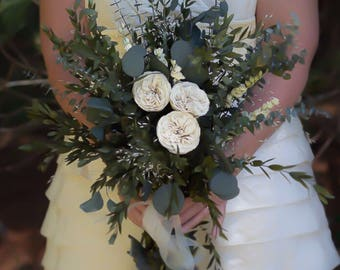 Woodland Dried Flower Wedding Bouquet, Boutonniere, Bridesmaid Bouquet | The Jeanie Mae Collection