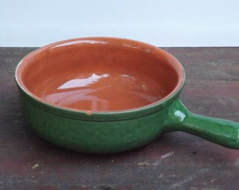 ALBISOLA PIRAL vintage fondue pot with handle terracotta pottery - Italy