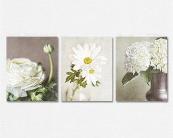 Beige Flower Print Or Canvas Art Set Of 3 Wall Art, Cream Flowers, Neutral