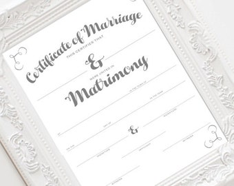 INSTANT DOWNLOAD Marriage Certificate, Wedding Certificate, Wedding Keepsake, Shower Gift