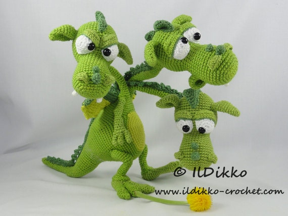 Crochet Amigurumi Dragon : Amigurumi crochet pattern brutus brian boris the three headed