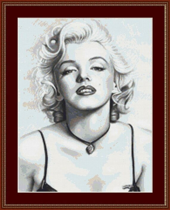 The Face Of Marilyn Munroe Cross Stitch Pattern /Digital PDF Files /Instant downloadable