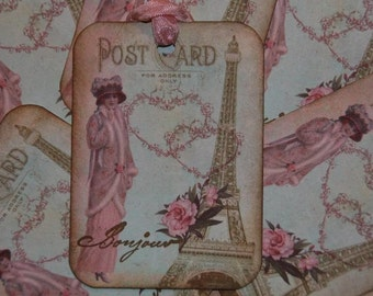 Post Card From Paris With Love Gift Tags