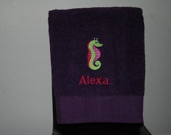 Personalized, Embroidered Bath Towel -Seahorse 1