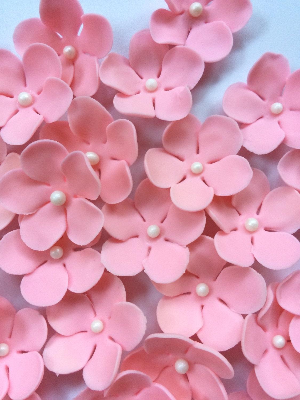 36 edible fondant flowers blush pink Hawaiian tropical cupcake
