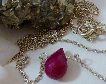 STERLING silver RUBY MINIMALIST simple contemporary briolette stone necklace