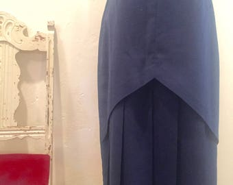 Vintage Pencil Skirt with Pleats and Cut-Out Back - Unique!