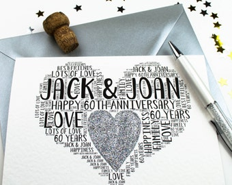 60th Wedding Anniversary Personalised Card