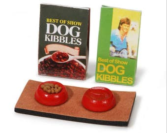 Dollhouse Miniature Dog Food Bowls, Food & Mat 1:12 Scale