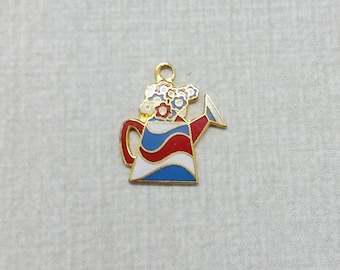 Vintage Aviva Charm Flowers in Watering Can Red White and Blue Patriotic  Enamel Cloisonne 30-1