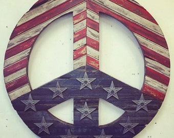 "Reclaimed Wood ""Americana Peace"" Wall Sculpture"