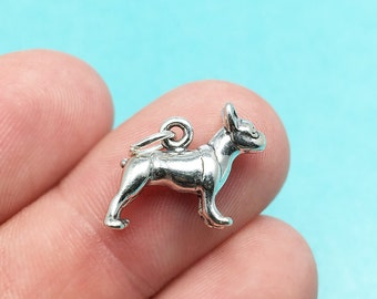 3D Sterling Silver Boston Terrier Charm, Dog, Puppy, Gift, .925 Silver, DIY, Charms, (C286)