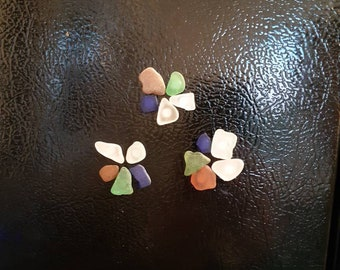 Set of five mixed colour seaglass fridge magnets