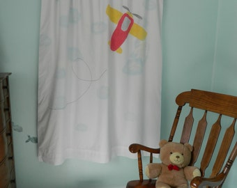 Handpainted Fun Vehicles: Airplane Blackout Curtain Panel