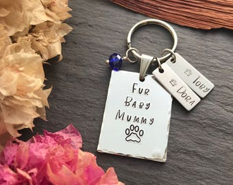 Dog Lover Gift - Cat Lover Gift - Personalised Valentines Keyring - Gift for Pet Lover - Fur Mama Gift - Fur Mum Gift - Fur Babies