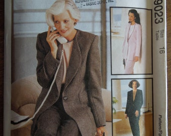 McCalls 9023, size varies, misses, womens, UNCUT sewing pattern, craft supplies, lined jacket, top, pants,