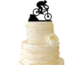 Mountain Biker - Acrylic or Baltic Birch Special Event Cake Topper - 060