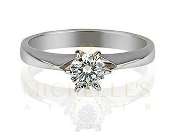 Women Diamond Wedding Ring 0.3 Carat D VS2 Round Cut 18K White Gold Setting Size 4 5 6 7 8