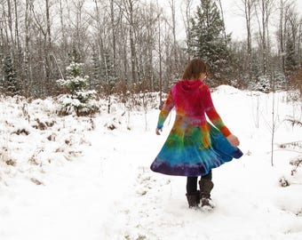Rainbow Dress, Hooded Dress, SLIM FIT SLEEVES and Bust, Winter Dress, Organic Dress,  Bamboo Velour Dress, Made to Order