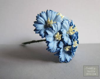 10 pieces 25 mm Blue Handmade Mulberry Paper Flowers With Stems Crafts Supply Floral Blossom Decorations Embellishment Wedding