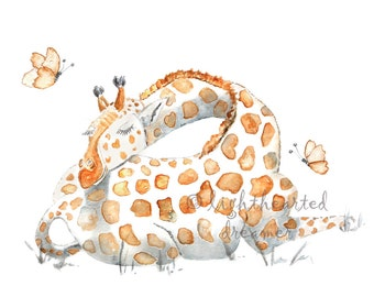 Watercolor Giraffe, Gift for Baby, gender neutral, Giraffe Painting, Jungle Nursery Art, Safari Nursery, Sleeping Giraffe Print